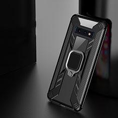 Coque Contour Silicone et Plastique Housse Etui Mat avec Magnetique Support Bague Anneau R04 pour Samsung Galaxy S10 Plus Noir