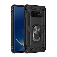 Coque Contour Silicone et Plastique Housse Etui Mat avec Magnetique Support Bague Anneau R04 pour Samsung Galaxy S10e Noir