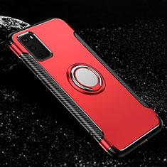 Coque Contour Silicone et Plastique Housse Etui Mat avec Magnetique Support Bague Anneau R04 pour Samsung Galaxy S20 5G Rouge
