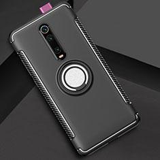 Coque Contour Silicone et Plastique Housse Etui Mat avec Magnetique Support Bague Anneau R04 pour Xiaomi Mi 9T Pro Noir