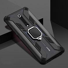 Coque Contour Silicone et Plastique Housse Etui Mat avec Magnetique Support Bague Anneau R05 pour Xiaomi Mi 9T Pro Noir
