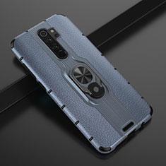 Coque Contour Silicone et Plastique Housse Etui Mat avec Magnetique Support Bague Anneau R05 pour Xiaomi Redmi Note 8 Pro Bleu