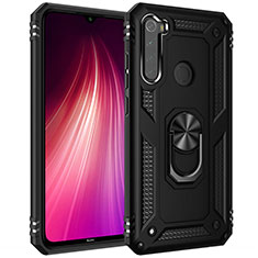 Coque Contour Silicone et Plastique Housse Etui Mat avec Magnetique Support Bague Anneau R05 pour Xiaomi Redmi Note 8T Noir