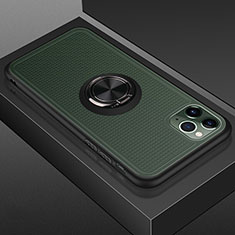 Coque Contour Silicone et Plastique Housse Etui Mat avec Magnetique Support Bague Anneau R07 pour Apple iPhone 11 Pro Max Noir