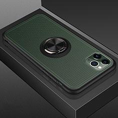 Coque Contour Silicone et Plastique Housse Etui Mat avec Magnetique Support Bague Anneau R07 pour Apple iPhone 11 Pro Noir
