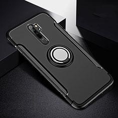 Coque Contour Silicone et Plastique Housse Etui Mat avec Magnetique Support Bague Anneau R08 pour Xiaomi Redmi Note 8 Pro Noir
