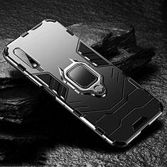 Coque Contour Silicone et Plastique Housse Etui Mat avec Magnetique Support Bague Anneau S01 pour Huawei Honor 9X Noir