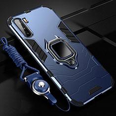 Coque Contour Silicone et Plastique Housse Etui Mat avec Magnetique Support Bague Anneau S01 pour Huawei Mate 40 Lite 5G Bleu