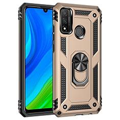 Coque Contour Silicone et Plastique Housse Etui Mat avec Magnetique Support Bague Anneau S01 pour Huawei P Smart (2020) Or