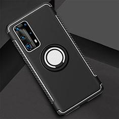 Coque Contour Silicone et Plastique Housse Etui Mat avec Magnetique Support Bague Anneau S01 pour Huawei P40 Pro+ Plus Noir