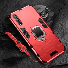 Coque Contour Silicone et Plastique Housse Etui Mat avec Magnetique Support Bague Anneau S01 pour Huawei Y8p Rouge