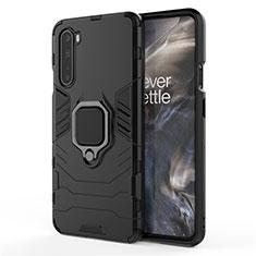 Coque Contour Silicone et Plastique Housse Etui Mat avec Magnetique Support Bague Anneau S01 pour OnePlus Nord Noir