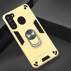 Coque Contour Silicone et Plastique Housse Etui Mat avec Magnetique Support Bague Anneau S01 pour Samsung Galaxy A21 Or