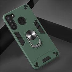 Coque Contour Silicone et Plastique Housse Etui Mat avec Magnetique Support Bague Anneau S01 pour Samsung Galaxy A21 Vert