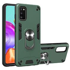Coque Contour Silicone et Plastique Housse Etui Mat avec Magnetique Support Bague Anneau S01 pour Samsung Galaxy A41 Vert