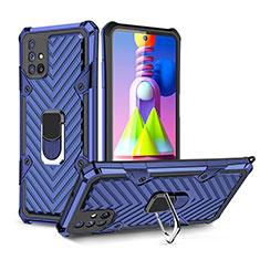 Coque Contour Silicone et Plastique Housse Etui Mat avec Magnetique Support Bague Anneau S01 pour Samsung Galaxy M51 Bleu