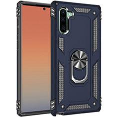 Coque Contour Silicone et Plastique Housse Etui Mat avec Magnetique Support Bague Anneau S01 pour Samsung Galaxy Note 10 Bleu