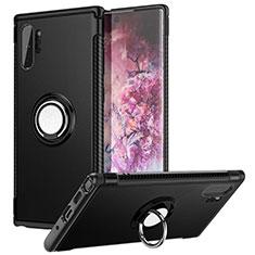 Coque Contour Silicone et Plastique Housse Etui Mat avec Magnetique Support Bague Anneau S01 pour Samsung Galaxy Note 10 Plus 5G Noir