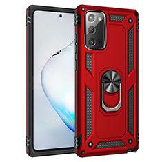 Coque Contour Silicone et Plastique Housse Etui Mat avec Magnetique Support Bague Anneau S01 pour Samsung Galaxy Note 20 5G Rouge