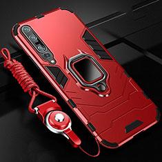 Coque Contour Silicone et Plastique Housse Etui Mat avec Magnetique Support Bague Anneau S01 pour Xiaomi Mi 10 Pro Rouge