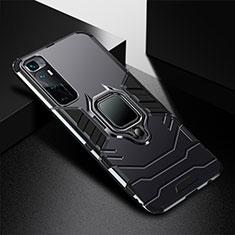 Coque Contour Silicone et Plastique Housse Etui Mat avec Magnetique Support Bague Anneau S01 pour Xiaomi Mi 10 Ultra Noir