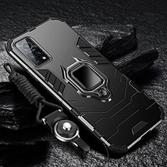 Coque Contour Silicone et Plastique Housse Etui Mat avec Magnetique Support Bague Anneau S01 pour Xiaomi Mi 10T 5G Noir