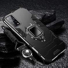 Coque Contour Silicone et Plastique Housse Etui Mat avec Magnetique Support Bague Anneau S01 pour Xiaomi Mi 10T Pro 5G Noir