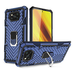 Coque Contour Silicone et Plastique Housse Etui Mat avec Magnetique Support Bague Anneau S01 pour Xiaomi Poco X3 NFC Bleu