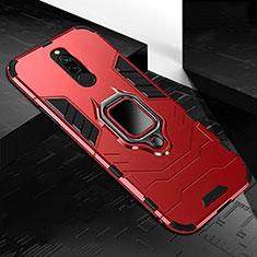 Coque Contour Silicone et Plastique Housse Etui Mat avec Magnetique Support Bague Anneau S01 pour Xiaomi Redmi 8 Rouge