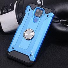 Coque Contour Silicone et Plastique Housse Etui Mat avec Magnetique Support Bague Anneau S02 pour Huawei Mate 30 Lite Bleu Ciel