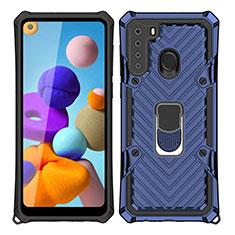 Coque Contour Silicone et Plastique Housse Etui Mat avec Magnetique Support Bague Anneau S02 pour Samsung Galaxy A21 Bleu