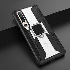 Coque Contour Silicone et Plastique Housse Etui Mat avec Magnetique Support Bague Anneau S02 pour Xiaomi Mi 10 Pro Noir