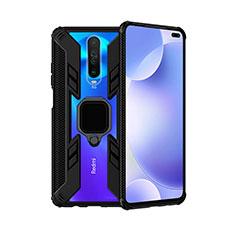 Coque Contour Silicone et Plastique Housse Etui Mat avec Magnetique Support Bague Anneau S02 pour Xiaomi Poco X2 Noir
