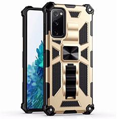 Coque Contour Silicone et Plastique Housse Etui Mat avec Magnetique Support Bague Anneau S03 pour Samsung Galaxy S20 FE 5G Or