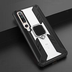 Coque Contour Silicone et Plastique Housse Etui Mat avec Magnetique Support Bague Anneau S03 pour Xiaomi Mi 10 Noir