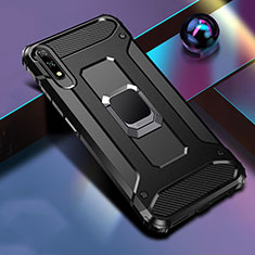 Coque Contour Silicone et Plastique Housse Etui Mat avec Magnetique Support Bague Anneau S04 pour Huawei Honor 9X Noir