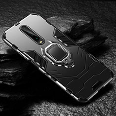 Coque Contour Silicone et Plastique Housse Etui Mat avec Magnetique Support Bague Anneau S04 pour Xiaomi Poco X2 Noir