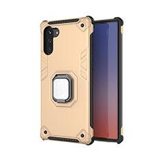 Coque Contour Silicone et Plastique Housse Etui Mat avec Magnetique Support Bague Anneau T01 pour Samsung Galaxy Note 10 5G Or