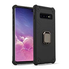 Coque Contour Silicone et Plastique Housse Etui Mat avec Magnetique Support Bague Anneau T01 pour Samsung Galaxy S10 Noir