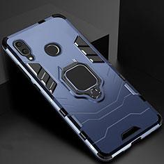 Coque Contour Silicone et Plastique Housse Etui Mat avec Magnetique Support Bague Anneau Z01 pour Xiaomi Redmi 7 Bleu