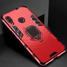 Coque Contour Silicone et Plastique Housse Etui Mat avec Magnetique Support Bague Anneau Z01 pour Xiaomi Redmi 7 Rouge