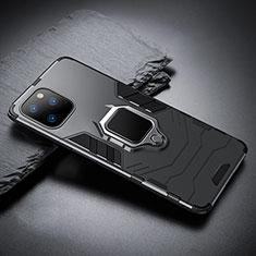 Coque Contour Silicone et Plastique Housse Etui Mat avec Magnetique Support pour Apple iPhone 11 Pro Max Noir