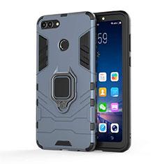 Coque Contour Silicone et Plastique Housse Etui Mat avec Magnetique Support pour Huawei Enjoy 8 Plus Bleu