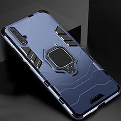Coque Contour Silicone et Plastique Housse Etui Mat avec Magnetique Support pour Huawei Honor 20 Bleu