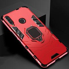 Coque Contour Silicone et Plastique Housse Etui Mat avec Magnetique Support pour Huawei Honor 20 Lite Rouge