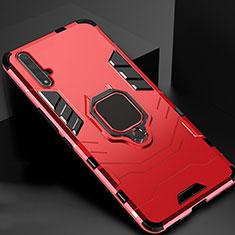Coque Contour Silicone et Plastique Housse Etui Mat avec Magnetique Support pour Huawei Honor 20 Rouge