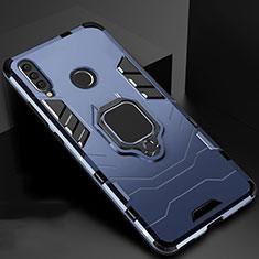 Coque Contour Silicone et Plastique Housse Etui Mat avec Magnetique Support pour Huawei Honor 20i Bleu