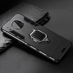 Coque Contour Silicone et Plastique Housse Etui Mat avec Magnetique Support pour Huawei Mate 30 Noir
