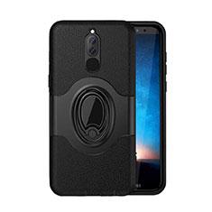 Coque Contour Silicone et Plastique Housse Etui Mat avec Magnetique Support pour Huawei Nova 2i Noir