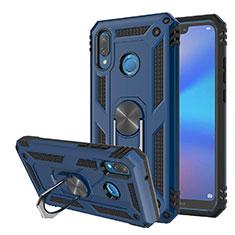 Coque Contour Silicone et Plastique Housse Etui Mat avec Magnetique Support pour Huawei Nova 3e Bleu